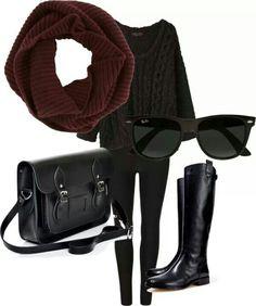 black sweater, black leggings, black boots, burgundy scarf, black sunglasses, black bag