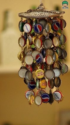 Mobile chimes of bottle tops
