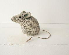 Clay Mouse Animal Sculpture Handmade Ceramic Art. $35.00, via Etsy.