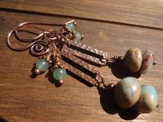 Gemstone Dangle Earrngs Copper Earrings Treasure by FeminineGenius