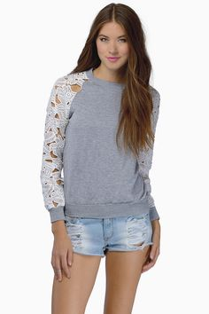 Grey Floral Crochet Long Sleeve Sweatshirt 18.99