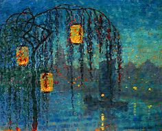 ☂ Paper Lanterns and Parasols ☂ Japonisme Art and Illustration - Thomas Watson Ball | Chinese Lanterns at Night