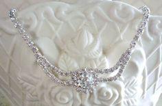Vintage Floral Swarovski Rhinestone Necklace on Etsy, $28.00