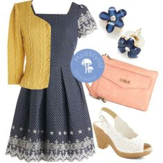 Stuck on what to wear to the many weddings and showers on your social calendar? Fret not, the Get to the Grove Dress is the perfect number for you. This navy,  fun frock looks stunning paired with the Honeycomb, I'm Home Cardigan! Floral studs and a sorbet colored clutch complete this look.    Do you love #Polyvore? Would you like to be #ModStyled? Pop in and say 'hi' to us here: http://www.modcloth.com/modstylists