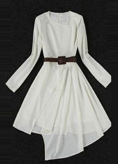 wholesale Particular Long Sleeve High Low Hem White Dress
