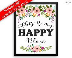 Happy Place Canvas Art Happy Place Printed Happy Place Home Art Happy Place Home Print Happy Place Framed Art Happy Place flowers poster - Physical Product printed wall art wall art prints framed wall art canvas wall art canvas and frame available