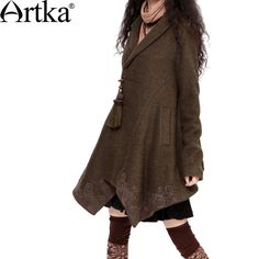 Artka Women'S Spring Vintage Polo Collar Long Sleeve Applique Embroidery Tassels Slim Solid All-Match Wool Trench FA10433D via Artka. Click on the image to see more!