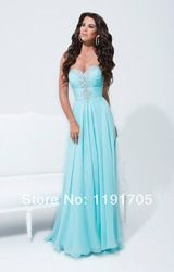 Online Shop Yes Chiffon Sweetheart Beading Prom Dresses 2014 Empire Appliques Floor Length New Sky Blue Party Dress Rushed Celebrity Gowns|Aliexpress Mobile