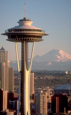 The Space Needle in Seattle, Washington with Mount Rainier in the background • photo: Eugeniu Cozac on Flickr