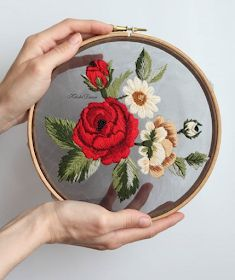 Little Treasures: Insta love: Tulle Embroidery flowers floral hoop Crewel Embroidery Kits, Hand Embroidery Videos, Embroidery Flowers Pattern, Embroidery Scissors, Vintage Embroidery, Ribbon Embroidery, Cross Stitch Embroidery, Embroidery Needles, Embroidery Supplies