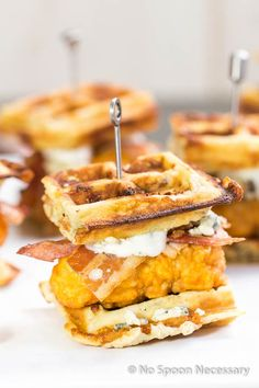 If you haven't mastered how to get the perfect chicken-to-waffle ratio in every bite, these sliders will do the trick.  Get the recipe at No Spoon Necessary.    - Delish.com