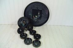 Vintage 9 Piece Black Lacquer Cocktail Tray & by DivineOrders, $33.00