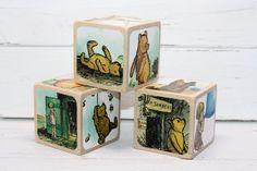 Vintage Winnie The Pooh Baby Blocks Nursery by Booksonblocks
