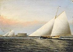 """James Buttersworth (1817-1894), New York Harbor, oil on academy board, 6½"""" x 8"""""""