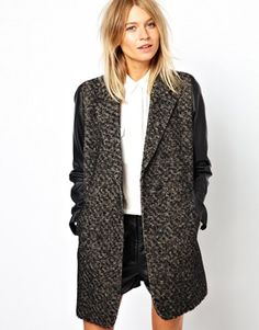 ASOS Coat With Leather Look Sleeves