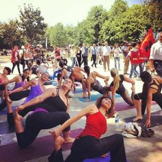 Peaceful protesters in Gezi Park in Istanbul practice yoga together in solidarity. Photo via the Cihangar Yoga facebook page https://www.facebook.com/cihangiryoga