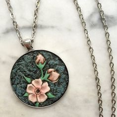 Hand-Carved Cherry Blossom Pendant in Silver  by JosieDybeDesigns