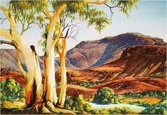 Larger image in new window: Albert Namatjira, In the Ranges, Mount Hermannsburg, c. water colour and coloured pencil on paper, printe. Aboriginal History, Aboriginal Artists, Australian Painting, Australian Artists, Landscape Art, Landscape Paintings, Long Painting, Indigenous Art, Artist Art