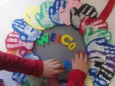 creating this class hand print wreath on the first days of school