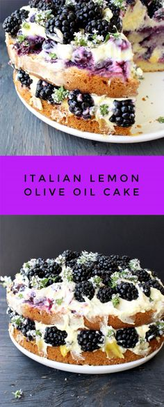 Lemon Olive Oil Cake Recipe with Mascarpone, Berries and Lemon Curd | CiaoFlorentina.com @CiaoFlorentina
