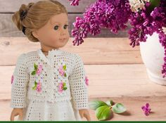 Crochet Pattern For American Girl Doll Easter Morning - Cardigan And Skirt - Doll Clothes - PDF File