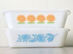 GLASBAKE Orange Flower & Blue Floral Milk Glass Loaf Baking
