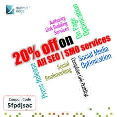 Hurry! We are offering 20% off on our SEO and SMO service! This offer is valid till 31st August, 2013. Use the coupon code while purchasing.  If you have any queries, feel free to contact us on support@submitedge.com