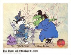 Witch Hazel from the Looney Tunes.  I loved Witch Hazel's tiny feet, and the fact that she has wild black hair from which hairpins fly and spin in midair whenever she zips away.  :)   Here, she matches wits with her nemesis, Bugs Bunny.