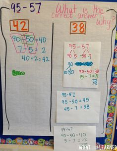 Developing models and strategies for two-digit addition and subtraction helps students obtain fluency in mental math and computation. Subtraction Strategies, Math Strategies, Math Resources, Math Activities, Math Games, Math Tutor, Teaching Math, Math Class, Math Addition