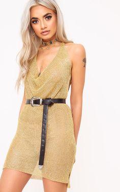 Jaz Gold Metallic Knit Cowl Neck Mini Dress