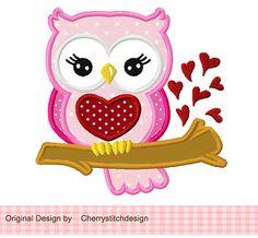 Valentine's Day Sweet Owl 01 Applique 4x4 by CherryStitchDesign
