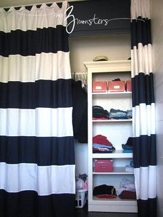 Two Twin Sheets Sewn Together To Make Fun Curtains. Better Than Closet Door.
