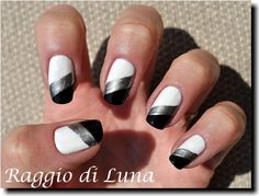 Raggio di Luna Nails: Diagonal manicure: white & silver & black
