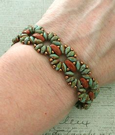 Linda's Crafty Inspirations: Bracelet of the Day: Claudia - Turquoise & Caramel