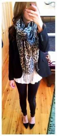 Business casual Fall outfit or Winter outfit- grey and white snow leopard scarf with black blazer, black pumps, and faux leather panel leggings