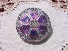 Fuchsia Teal Whitewashed Carnival Wheel Czech by vintagebeadnut, $6.50