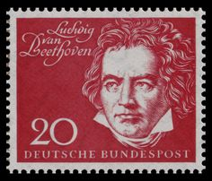 German stamp on the occasion of the opening of the Beethoven Hall in Bonn, 1959.
