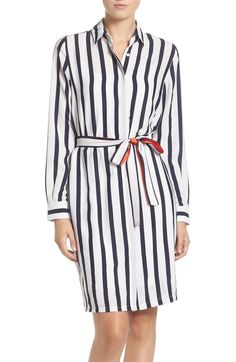 Nautical stripes create long, lean lines down a classically tailored shirtdress punctuated with a color-pop tie that accentuates your waist.