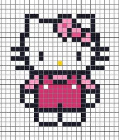 Hello Kitty Hama Perler Bead (or cross stitch) Pattern Melty Bead Patterns, Hama Beads Patterns, Loom Patterns, Beading Patterns, Embroidery Patterns, Crochet Patterns, Beaded Cross Stitch, Cross Stitch Embroidery, Cross Stitch Patterns