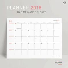 Calendário 2018 + planner grátis para baixar, imprimir e se organizar