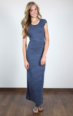 Maxi Dress- Navy Stripe, this would be cute to wear to the beach or yachting!