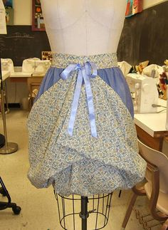 """18th Century-esque """"Gathering Apron"""" with emboidered pocket- neat idea for someone with a wonderful garden."""