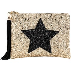 LISA BEA Glitter-star large pouch ($61) ❤ liked on Polyvore featuring beauty products, beauty accessories, bags & cases, bags, beauty and clutches