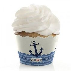Ahoy – Nautical – Baby Shower Decorations – Party Cupcake Wrappers – Set of 12 Ahoi – Nautisch – Babyparty Cupcake Wrappers & Decorations Nautical Baby Shower Decorations, Nautical Cupcake, Nautical Party, Boy Baby Shower Themes, Baby Shower Cupcakes, Cupcake Party, Baby Shower Favors, Baby Shower Gifts, Cupcake Decorations