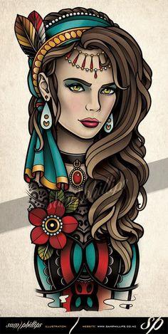 Trendy Tattoo Old School Girl Ich möchte Ideen - Hair♥ Nails♥ Beauty♥ Tattoos♥ Piercings♥ - Gipsy Tattoo, Lace Tattoo, I Tattoo, Tattoo Quotes, Mandala Tattoo, Tattoo Girls, Girl Tattoos, Bodysuit Tattoos, Tattoo Old School