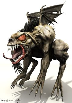 """Malachi came up with some unique twists of his own, including the fly-like eyes and the inclusion of his genitalia or """"junk"""", and the first rendition of El Chupacabra was born. Description from lifebloodgames.com. I searched for this on bing.com/images"""