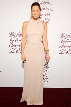 Rachel Stevens wore a nude Halston Heritage gown with a Monica Vinader gold cuff and rings by Boodles and Stephen Webster.