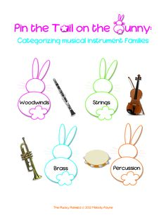 Give the student the bunny tails, and have him or her place (pin) the instrument (tail) onto the correct instrument family (bunny). Description from thepluckypianista.blogspot.co.uk. I searched for this on bing.com/images