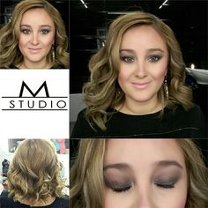 Make-up and curly hair.