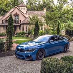 Laguna Seca Blue F82 BMW M4 guarding the mansion via @GentBeLike Tag a BMW lover Ph. @william_jordan10